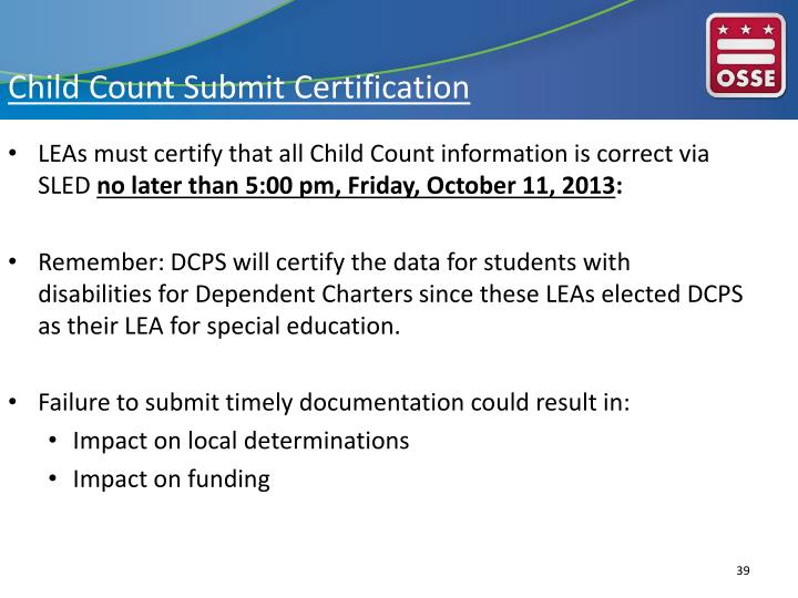 Child Count Submit Certification