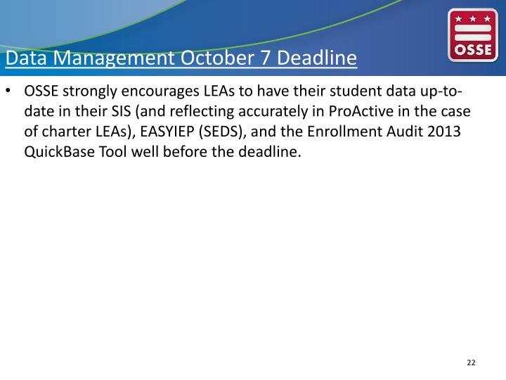 Data Management October 7 Deadline