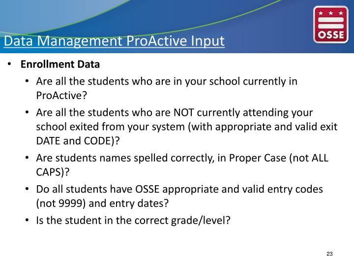 Data Management ProActive Input