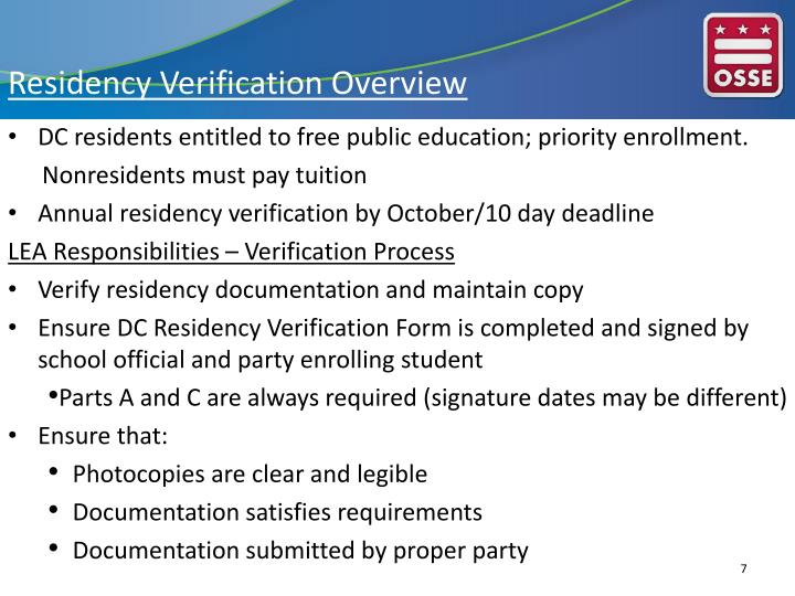 Residency Verification Overview