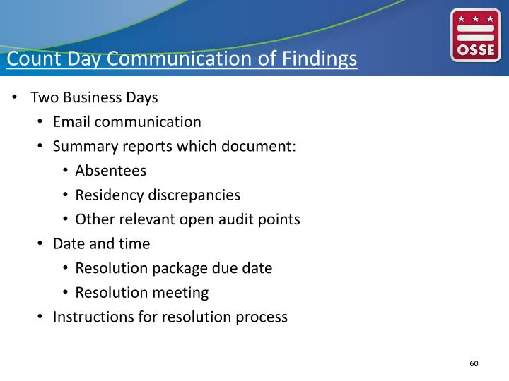 Count Day Communication of Findings