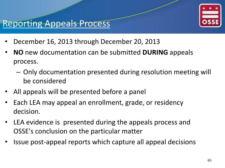 Reporting Appeals Process