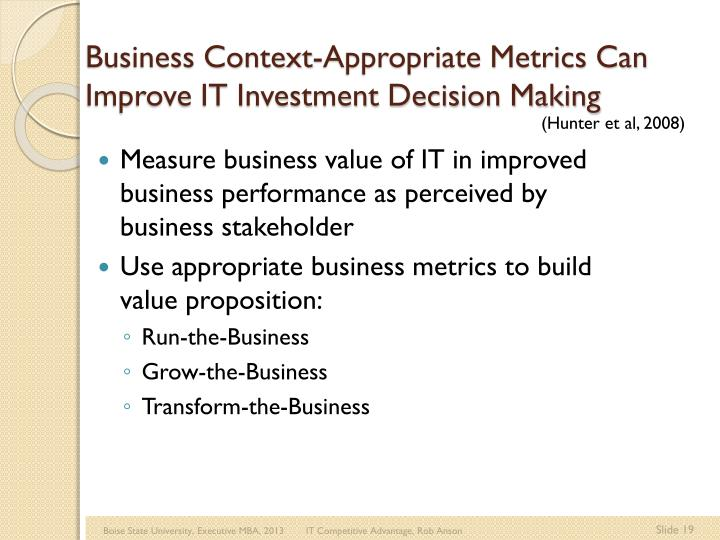 Business Context-Appropriate Metrics Can Improve IT Investment Decision Making