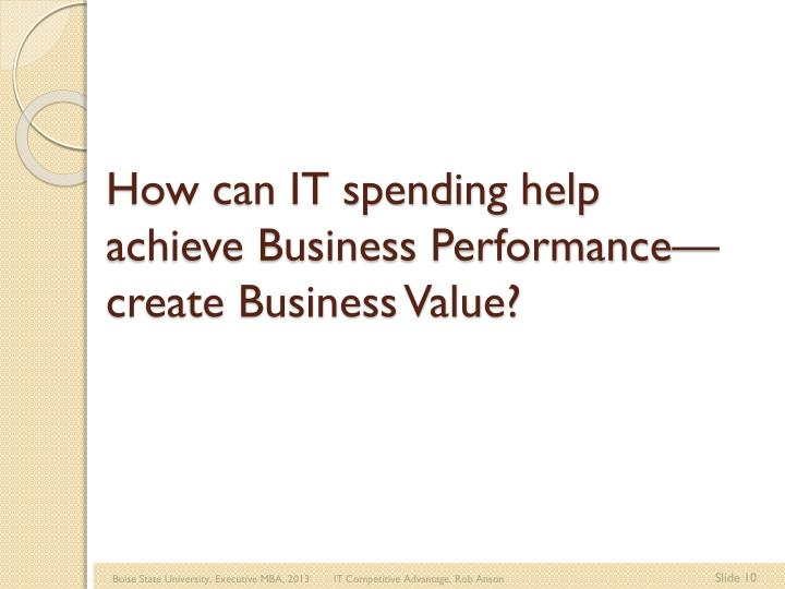 How can IT spending help achieve Business Performance—create Business Value?