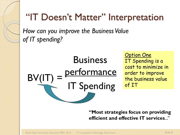 """IT Doesn't Matter"" Interpretation"