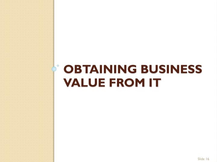 Obtaining Business Value From IT