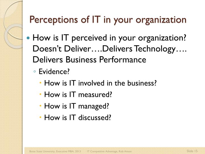 Perceptions of IT in your organization