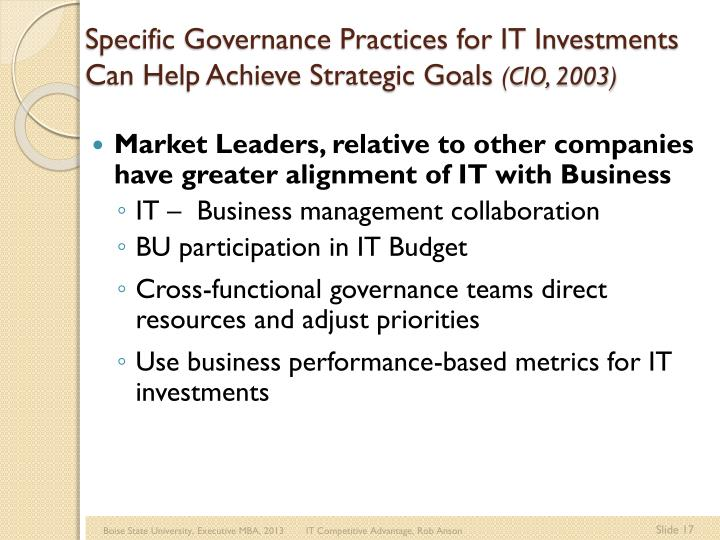 Specific Governance Practices for IT Investments Can Help Achieve Strategic Goals