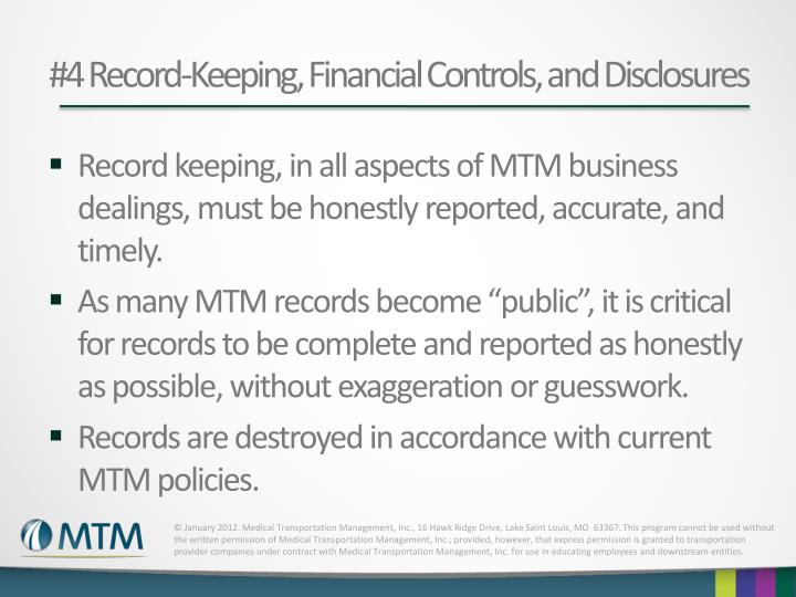 #4 Record-Keeping, Financial Controls, and Disclosures