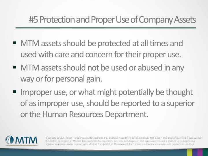 #5 Protection and Proper Use of Company Assets