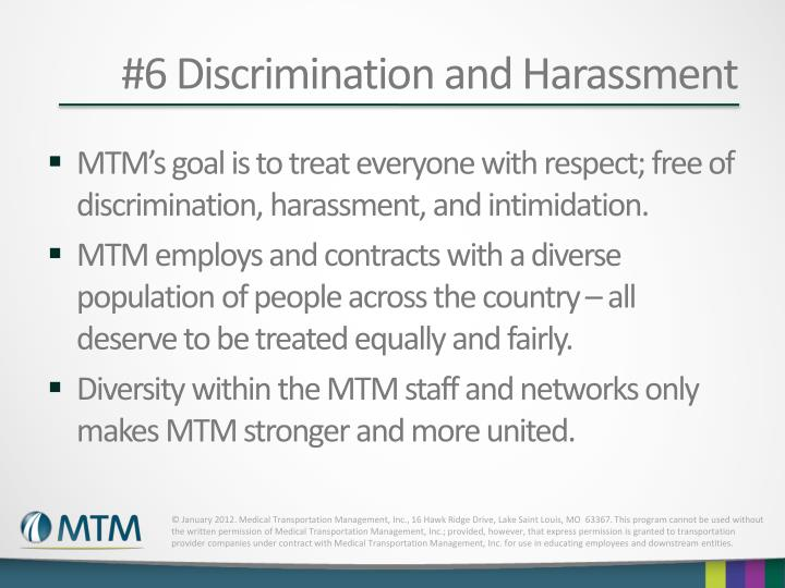 #6 Discrimination and Harassment
