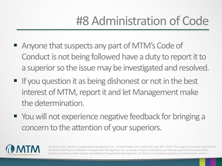 #8 Administration of Code