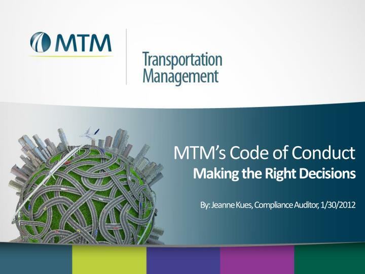 Mtm s code of conduct