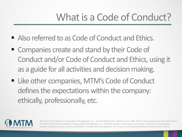 What is a Code of Conduct?