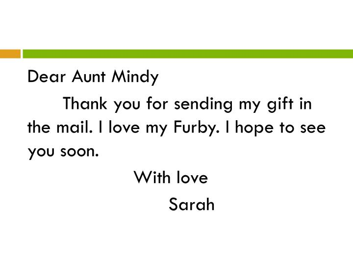 Dear Aunt Mindy