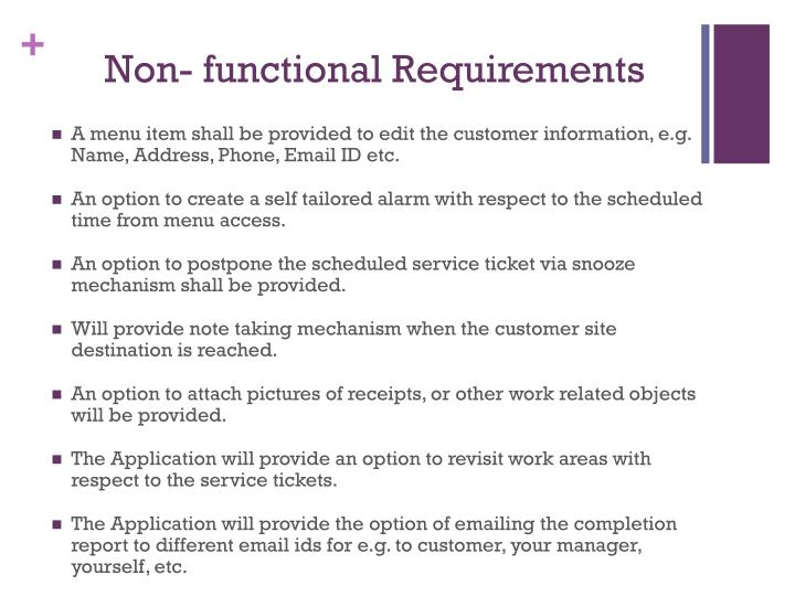 Non- functional Requirements