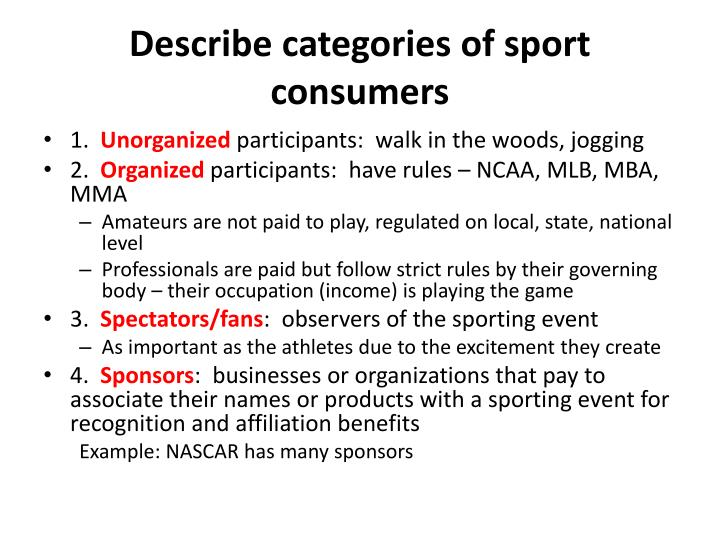 Describe categories of sport consumers