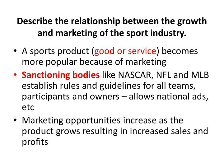 Describe the relationship between the growth and marketing of the sport industry.