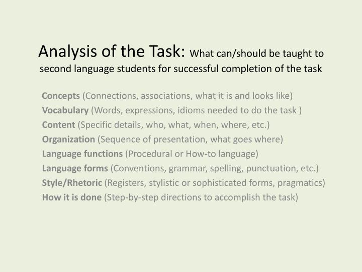 Analysis of the Task: