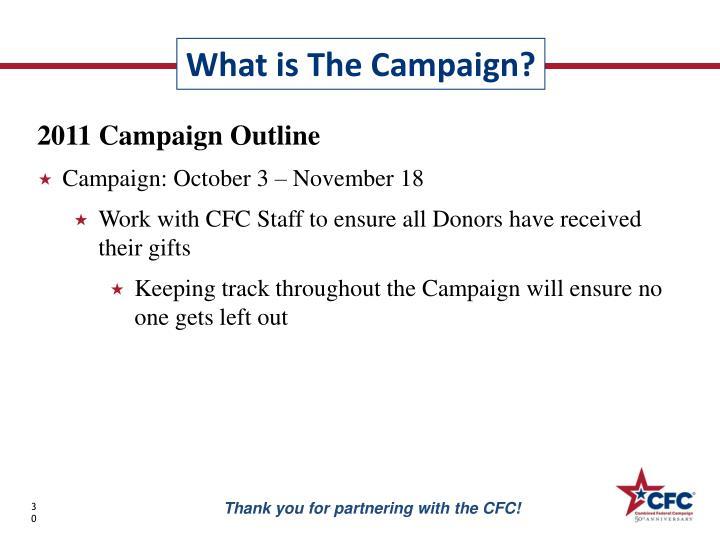 2011 Campaign Outline