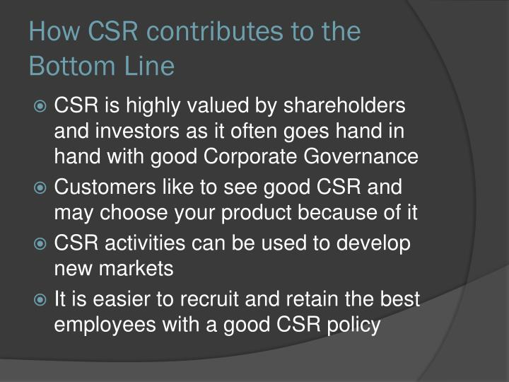 How CSR contributes to the Bottom