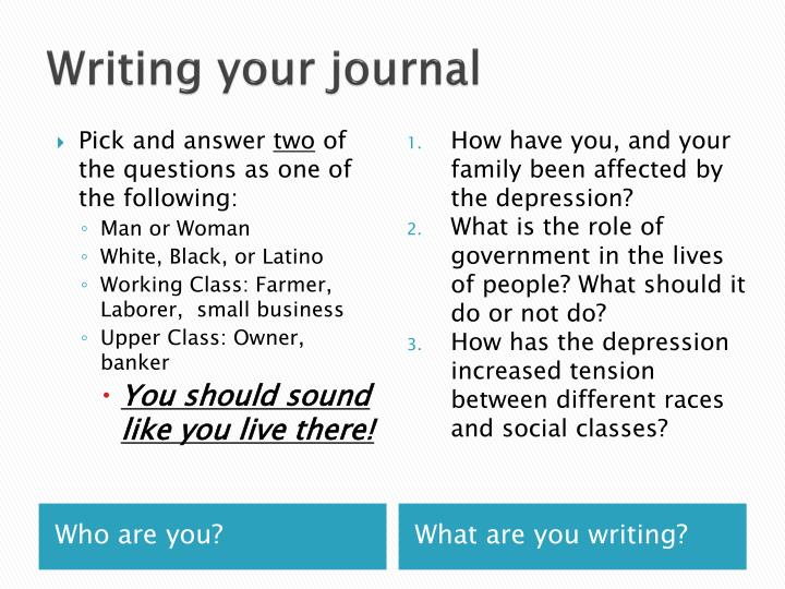 Writing your journa