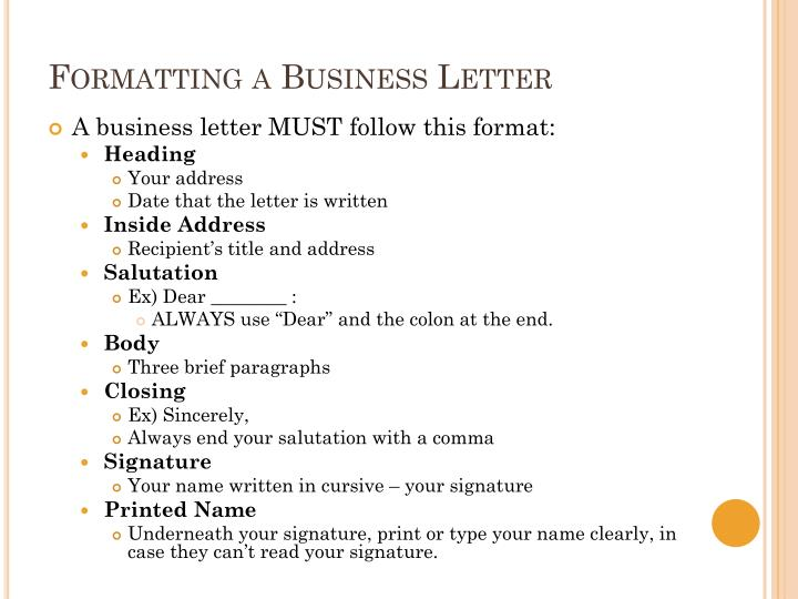 Formatting a Business Letter