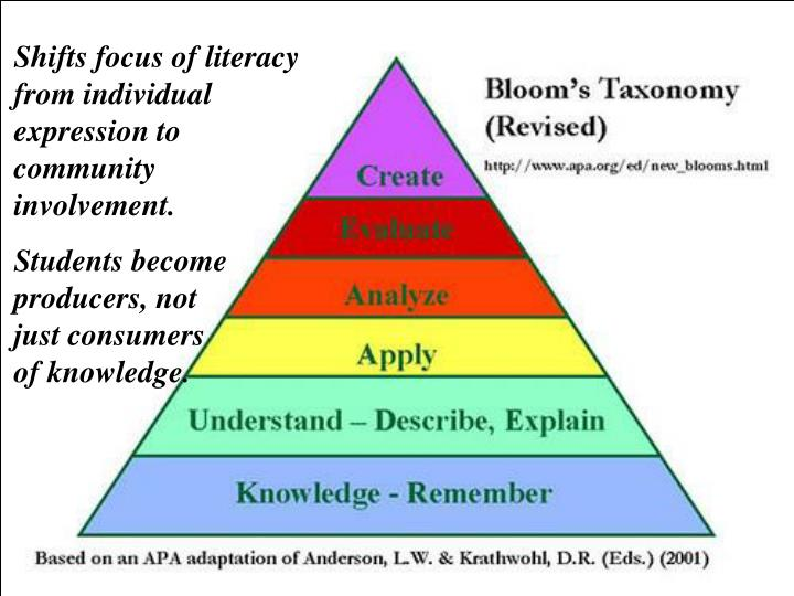 Shifts focus of literacy from individual expression to community involvement.