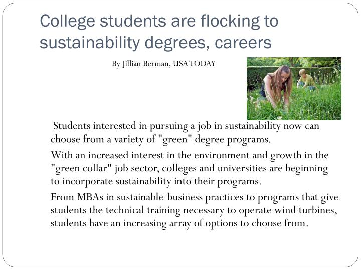 College students are flocking to sustainability degrees, careers