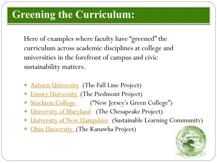 Greening the Curriculum: