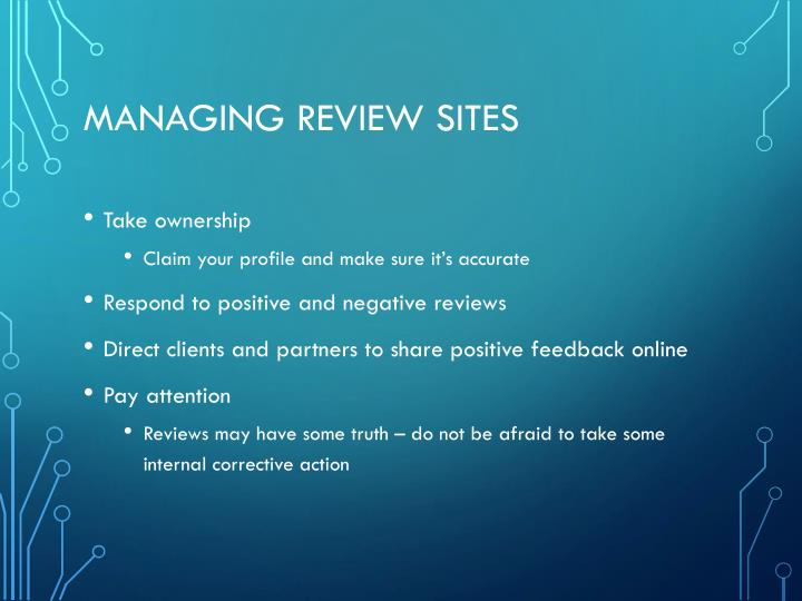 Managing Review Sites