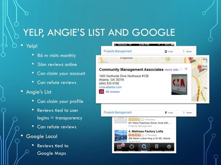 Yelp, Angie's List and Google