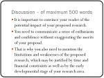 discussion of maximum 500 words