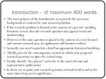 introduction of maximum 400 words