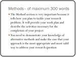 methods of maximum 300 words