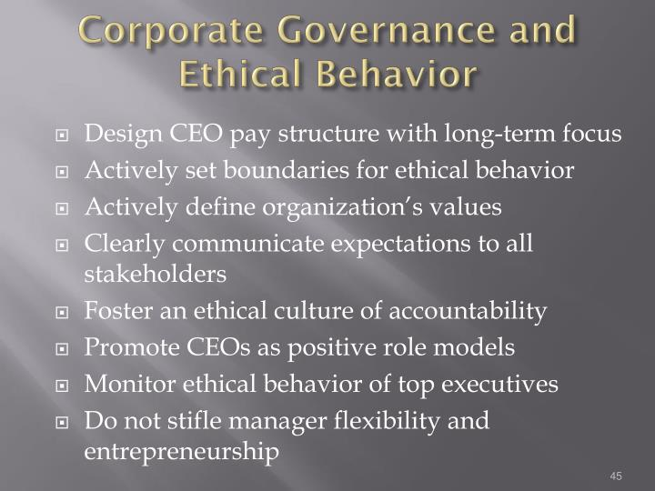 Corporate Governance and Ethical Behavior