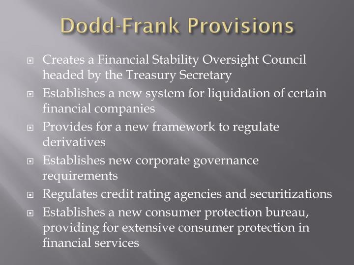 Dodd-Frank Provisions