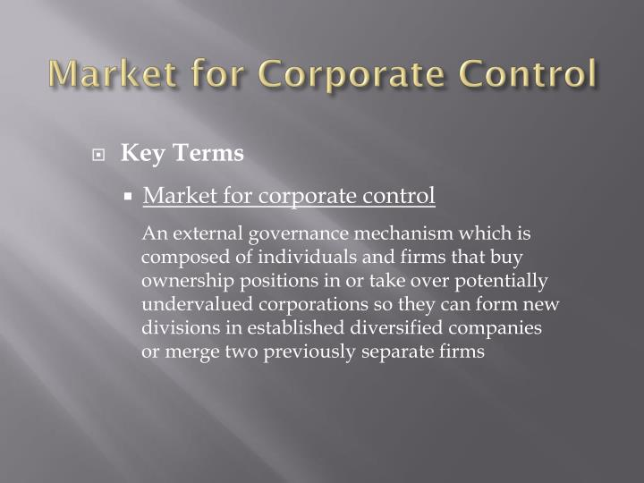 Market for Corporate Control