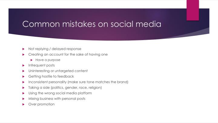 Common mistakes on social media
