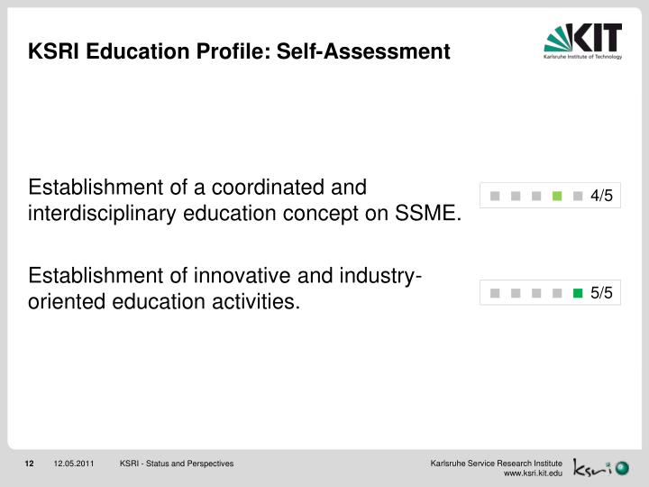 KSRI Education Profile: Self-Assessment