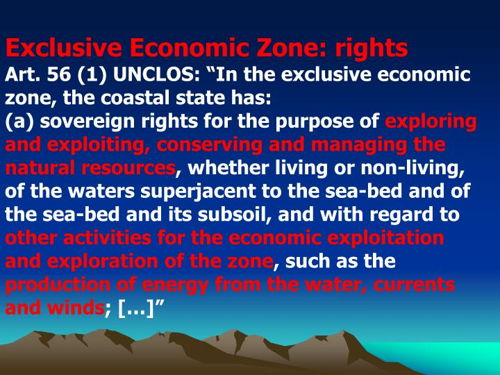 Exclusive Economic Zone: rights