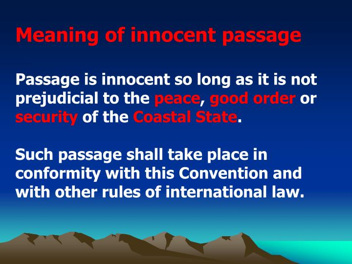 Meaning of innocent passage