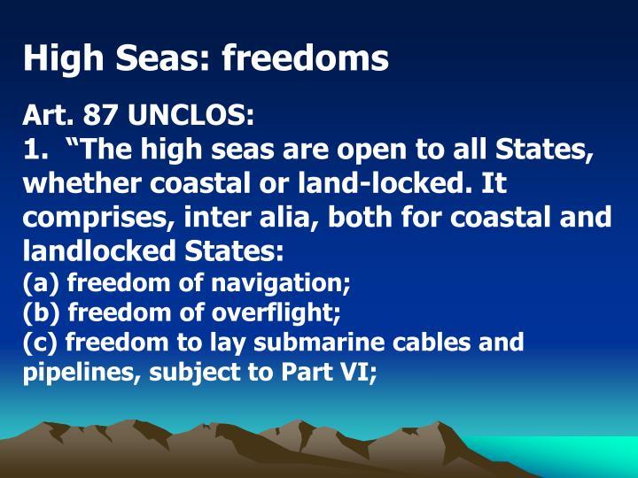 High Seas: freedoms