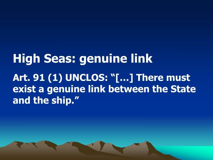High Seas: genuine link