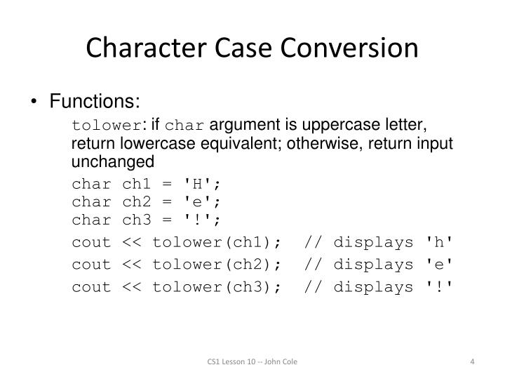 Character Case Conversion