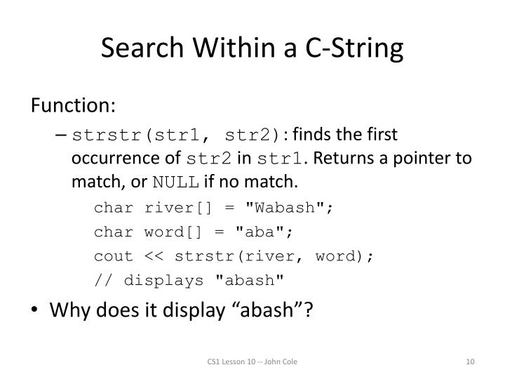 Search Within a C-String
