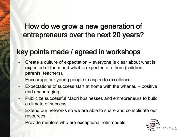 key points made / agreed in workshops