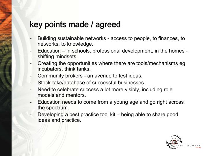 key points made / agreed