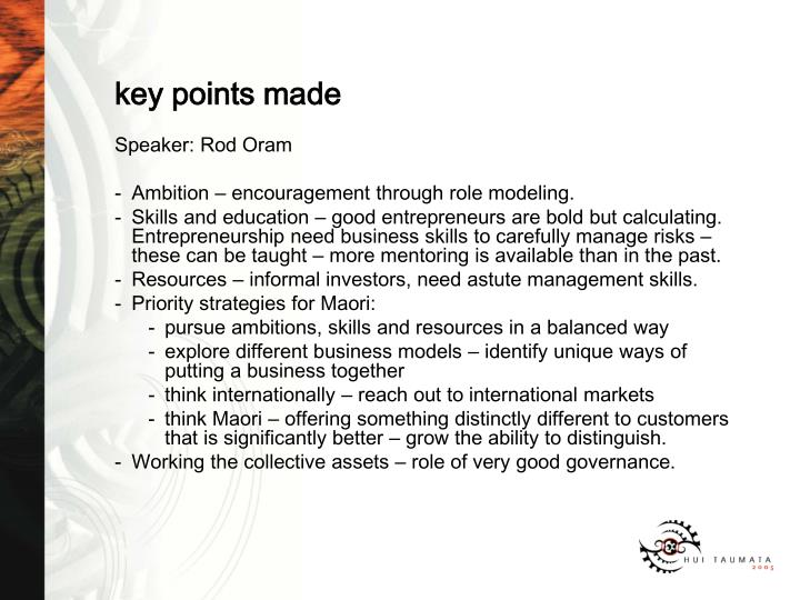 key points made
