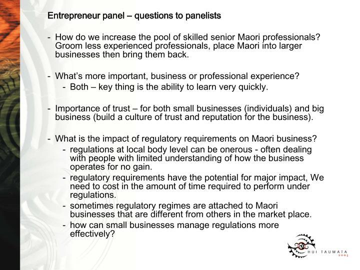 Entrepreneur panel